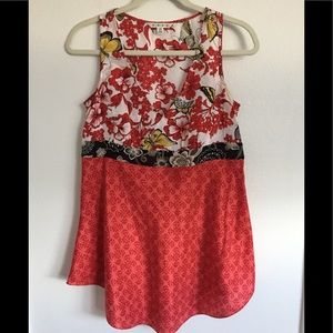 CABI Red-Butterfly Floral Print Silk Tunic Blouse.